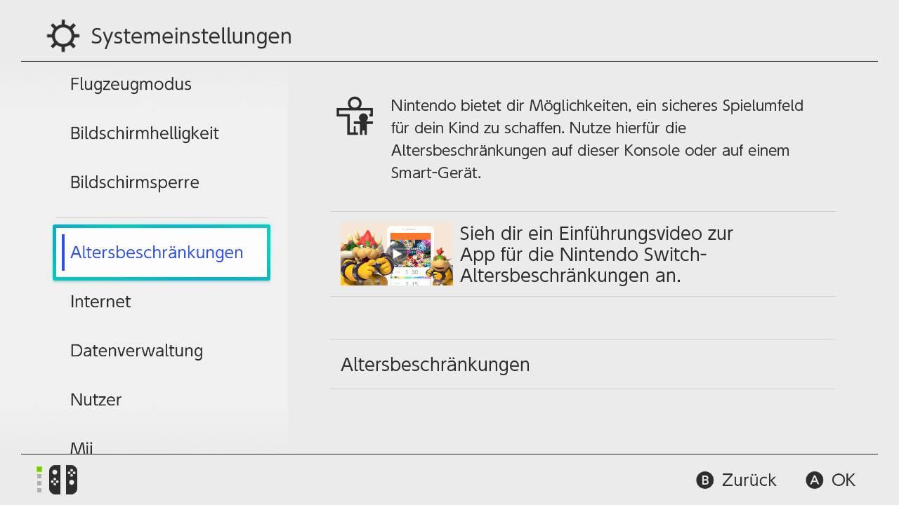 Nintendo Switch Altersbeschränkung