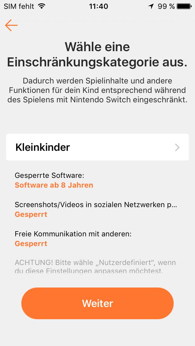 Switch App Einschränkungen