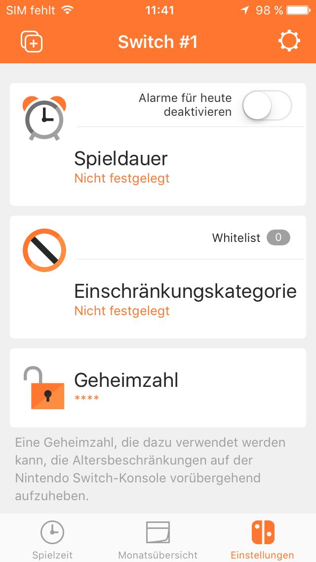 Switch App Spieldauer