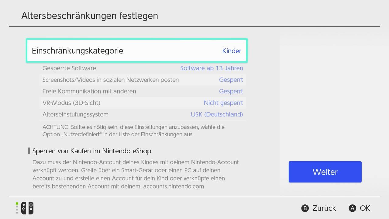 Nintendo Switch Alterseinschränkungen